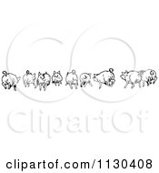 Clipart Of A Retro Vintage Black And White Rear View Of Running Pigs Royalty Free Vector Illustration