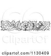 Clipart Of A Retro Vintage Black And White Thistle Clover And Flower Border Royalty Free Vector Illustration