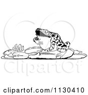 Clipart Of A Retro Vintage Black And White Frog By A Lotus Royalty Free Vector Illustration