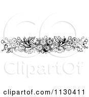Clipart Of A Retro Vintage Black And White Blossom Border Royalty Free Vector Illustration