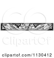 Clipart Of A Retro Vintage Black And White Fish Border Royalty Free Vector Illustration
