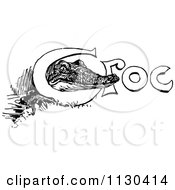 Clipart Of A Retro Vintage Black And White Crocodile Peeking Through Croc Royalty Free Vector Illustration