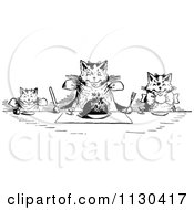 Clipart Of Retro Vintage Black And White Happy Cats Eating At A Table Royalty Free Vector Illustration by Prawny Vintage