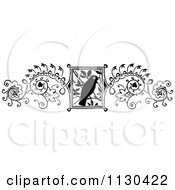 Clipart Of A Retro Vintage Black And White Bird And Vine Border Royalty Free Vector Illustration