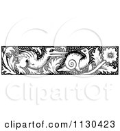 Clipart Of A Retro Vintage Black And White Bird And Snail Border Royalty Free Vector Illustration