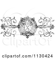 Clipart Of A Retro Vintage Black And White Warrior Border Royalty Free Vector Illustration
