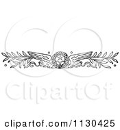 Clipart Of A Retro Vintage Black And White Winged Wreath And Branches Royalty Free Vector Illustration by Prawny Vintage