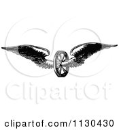 Clipart Of A Retro Vintage Black And White Winged Axle Wheel Royalty Free Vector Illustration by Prawny Vintage