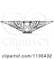 Clipart Of A Retro Vintage Black And White Winged Hourglass Royalty Free Vector Illustration