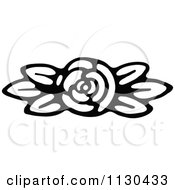 Retro Vintage Black And White Fully Bloomed Rose