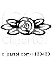 Retro Vintage Black And White Fully Bloomed Rose