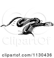 Clipart Of A Retro Vintage Black And White Snake Royalty Free Vector Illustration by Prawny Vintage