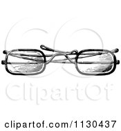 Clipart Of A Retro Vintage Black And White Eye Glasses 1 Royalty Free Vector Illustration