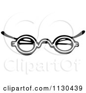 Clipart Of A Retro Vintage Black And White Eye Glasses 3 Royalty Free Vector Illustration