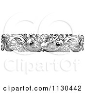 Clipart Of A Retro Vintage Black And White Cherub And Flourish Border Royalty Free Vector Illustration