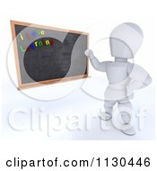 Clipart Of A 3d White Character Teacher Presenting A Black Board With I Love Learning Magnets Royalty Free CGI Illustration by KJ Pargeter