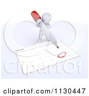 Clipart Of A 3d White Character Circling A Date On A Calendar Royalty Free CGI Illustration by KJ Pargeter