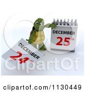 Clipart Of A 3d Tortoise Pulling A Page Off Of A Christmas Calendar 1 Royalty Free CGI Illustration by KJ Pargeter