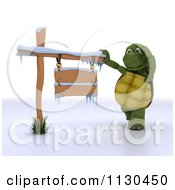 3d Tortoise Thinking By A Winter Sign