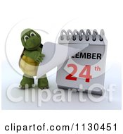 Clipart Of A 3d Tortoise Pulling A Page Off Of A Christmas Calendar 2 Royalty Free CGI Illustration by KJ Pargeter