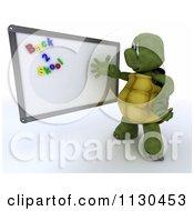 3d Tortoise Teacher Presenting Back 2 School Magnets On A White Board