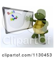 Clipart Of A 3d Tortoise Teacher Presenting Back 2 School Magnets On A White Board Royalty Free CGI Illustration by KJ Pargeter