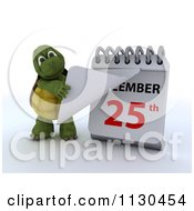 Clipart Of A 3d Tortoise Pulling A Page Off Of A Christmas Calendar 3 Royalty Free CGI Illustration by KJ Pargeter