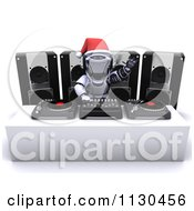 Clipart Of A 3d Robot Dj Mixing Christmas Music Royalty Free CGI Illustration