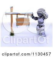 3d Robot Thinking By A Winter Sign