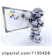 Clipart Of A 3d Robot Presenting Magnets On A White Board Royalty Free CGI Illustration by KJ Pargeter