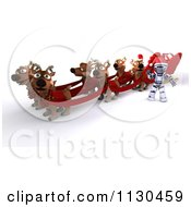 Clipart Of A 3d Santa Robot With Christmas Reindeer And A Sleigh Royalty Free CGI Illustration