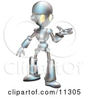 Friendly Futuristic Robot Gesturing With One Hand Clipart Illustration by AtStockIllustration