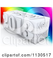Clipart Of A 3d White Happy New Year 2013 Cube Over Colors Royalty Free CGI Illustration by MacX
