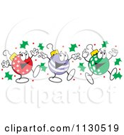 Cartoon Of Christmas Ornament Characters Dancing Royalty Free Vector Clipart