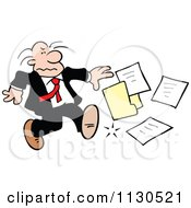 Cartoon Of A Grouchy Businessman Kicking A File Royalty Free Vector Clipart