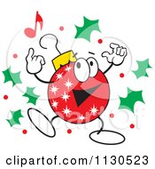 Cartoon Of A Christmas Ornament Character Dancing With Holly Royalty Free Vector Clipart