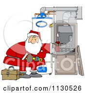Cartoon Of Santa Working On A Hvac Furnace Royalty Free Vector Clipart by Dennis Cox