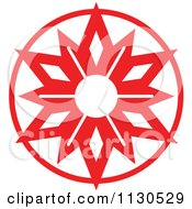 Cartoon Of A Round Red Christmas Star Avatar 1 Royalty Free Vector Clipart