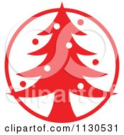 Cartoon Of A Round Red Christmas Tree Avatar Royalty Free Vector Clipart
