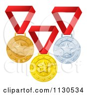 Clipart Of Gold Bronze And Silver Placement Award Winner Medals On Red Ribbons Royalty Free Vector Illustration by AtStockIllustration