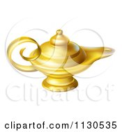 Cartoon Of A Gold Genie Oil Lamp Royalty Free Vector Clipart by AtStockIllustration