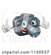 Cartoon Of A Happy DSLR Camera Mascot Holding Two Thumbs Up Royalty Free Vector Clipart by AtStockIllustration