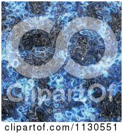Clipart Of A Seamless Blue Alien Electrical Storm Texture Background Pattern 9 Royalty Free CGI Illustration