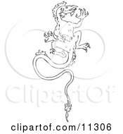 Dragon Climbing A Wall Clipart Illustration by AtStockIllustration