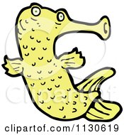 Cartoon Of A Yellow Exotic Fish Royalty Free Vector Clipart by lineartestpilot