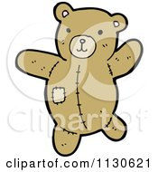 Cartoon Of A Teddy Bear With A Patch Royalty Free Vector Clipart by lineartestpilot