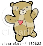 Cartoon Of A Teddy Bear With A Heart Patch Royalty Free Vector Clipart by lineartestpilot