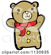 Cartoon Of A Cute Bear Wearing A Scarf And Waving Royalty Free Vector Clipart by lineartestpilot
