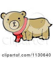 Cartoon Of A Cute Bear Wearing A Scarf Royalty Free Vector Clipart by lineartestpilot