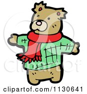 Cartoon Of A Cute Bear Wearing A Scarf And Sweater Royalty Free Vector Clipart